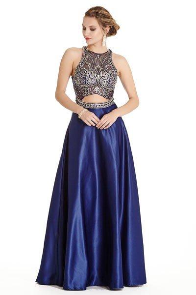 Illusion Peek-A-Boo Navy Blue Gown