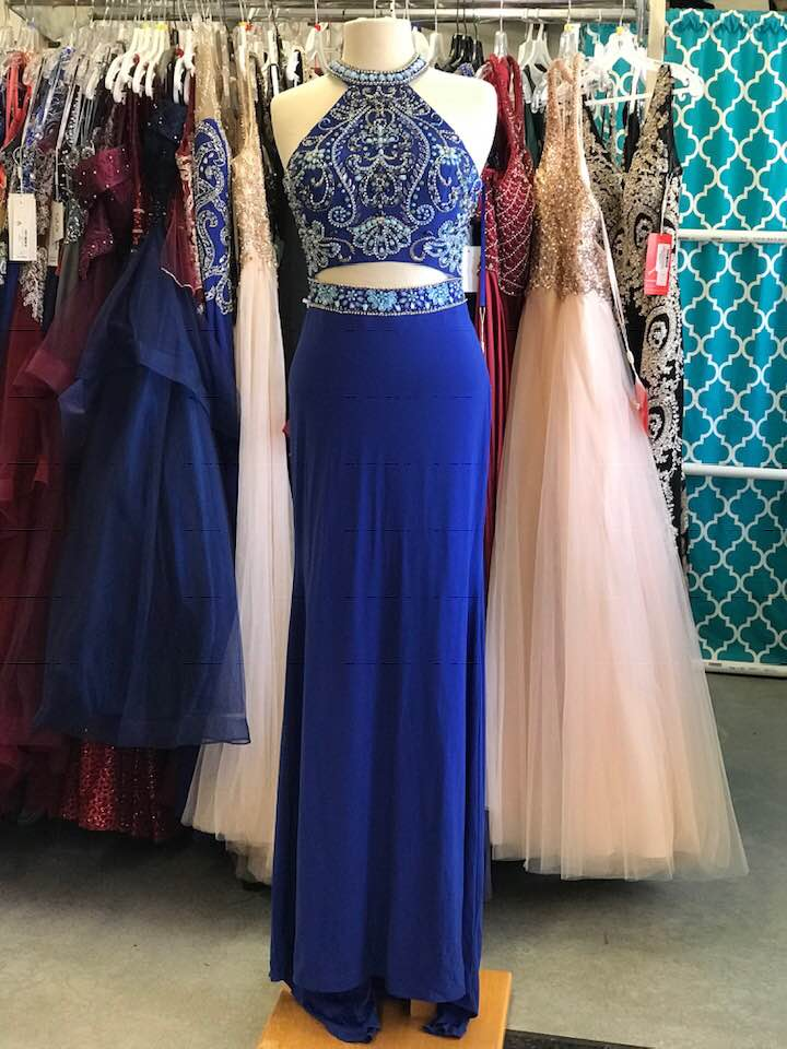 L1761 Royal Blue Mock Two-Piece Fitted Prom Dress