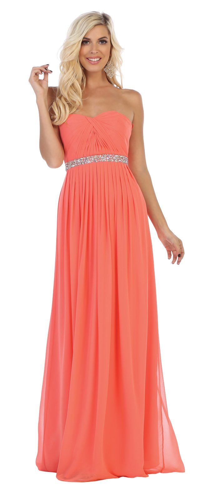 Black Lace Up Back Long Chiffon Skirt Prom Dress With Jeweled Belt