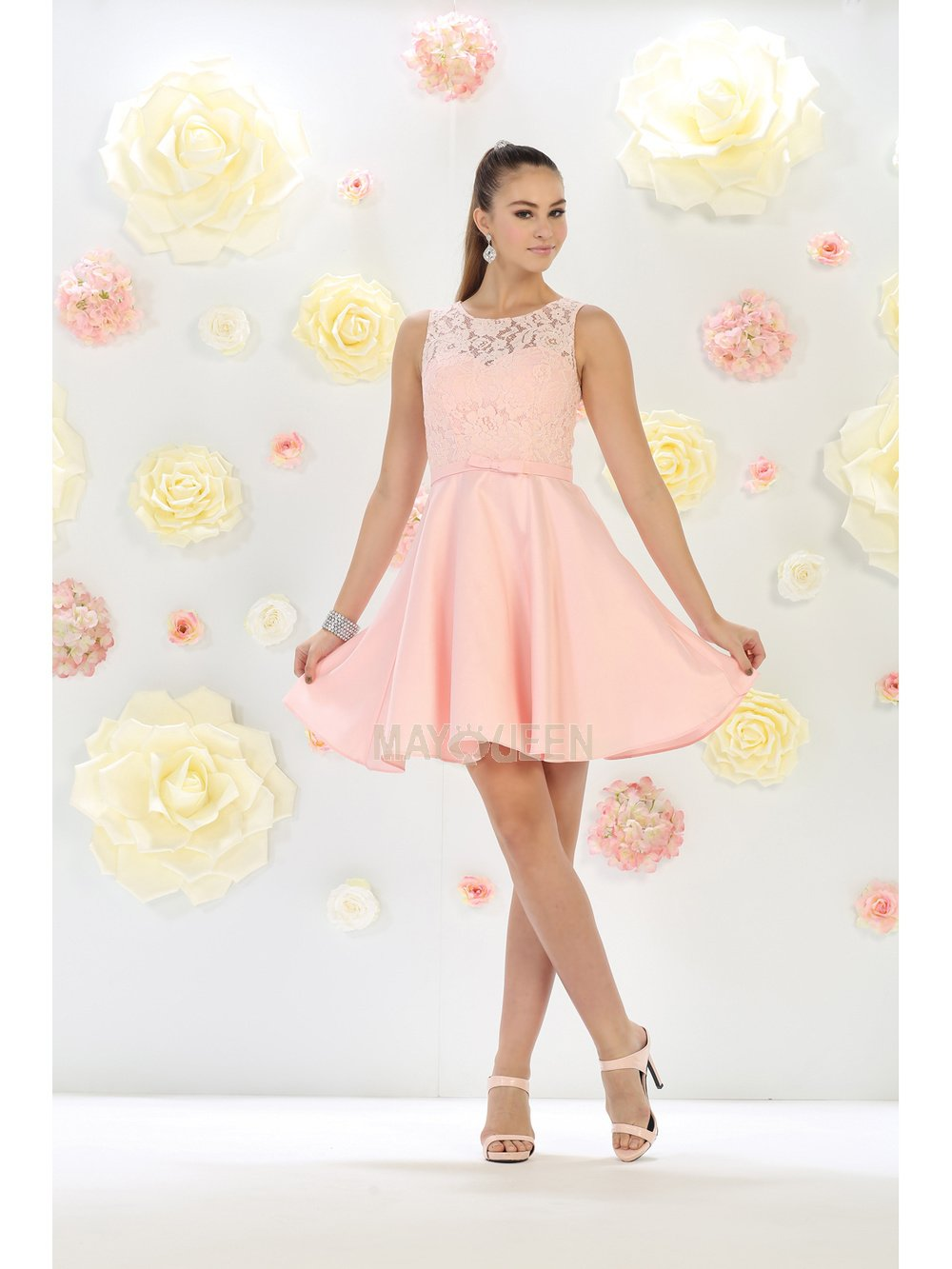 Blush Lace Top Homecoming Dress With Satin Skirt