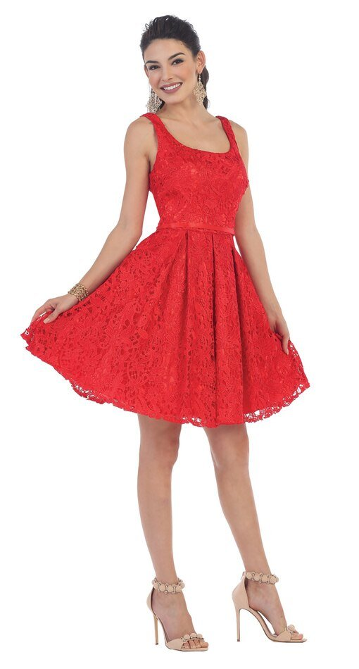 Red Lace Sassy Plus Size Homecoming Dress