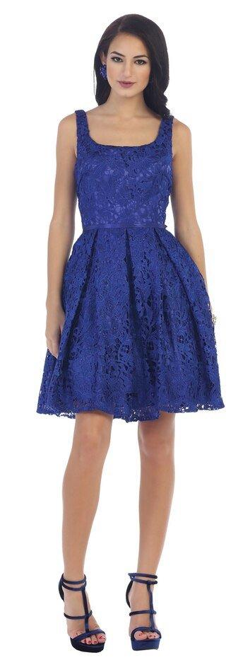 Royal Lace Sassy Homecoming Dress