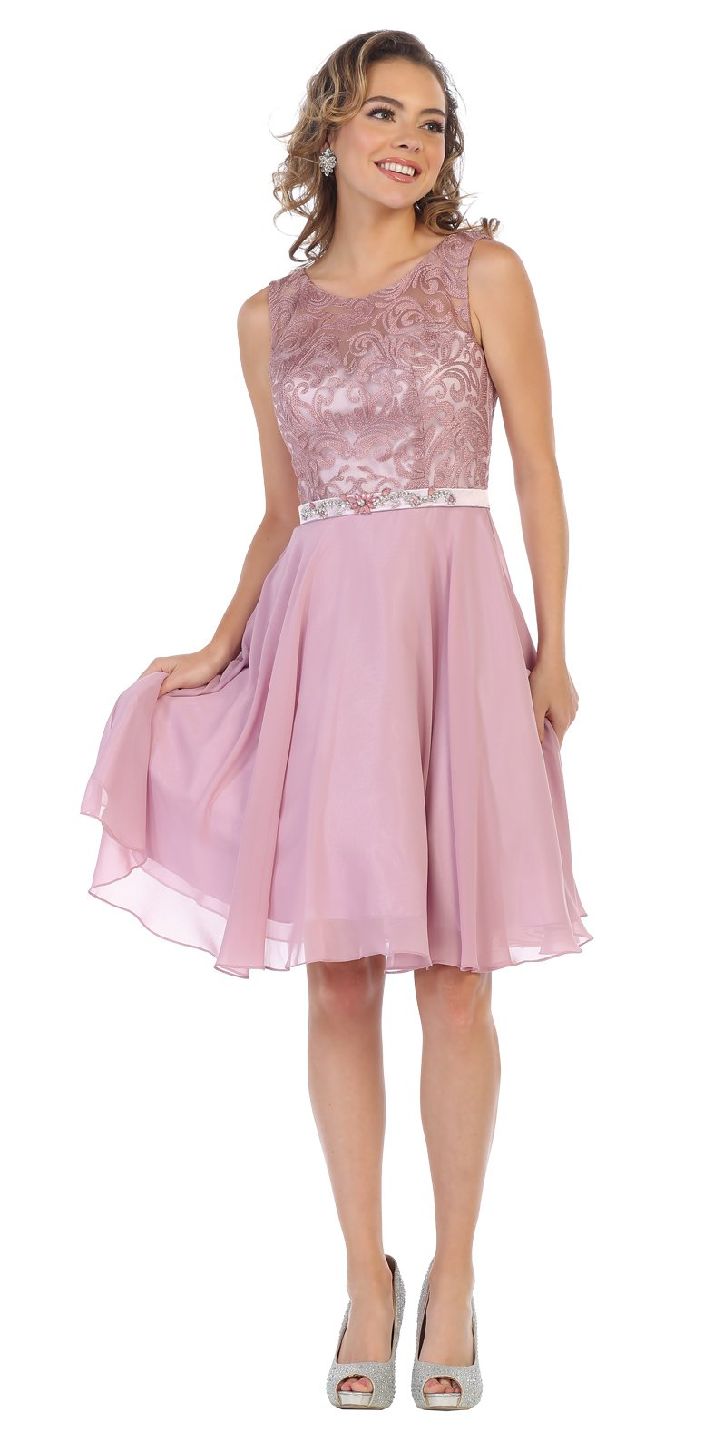 Pink Lace Applique Short Homecoming Dress