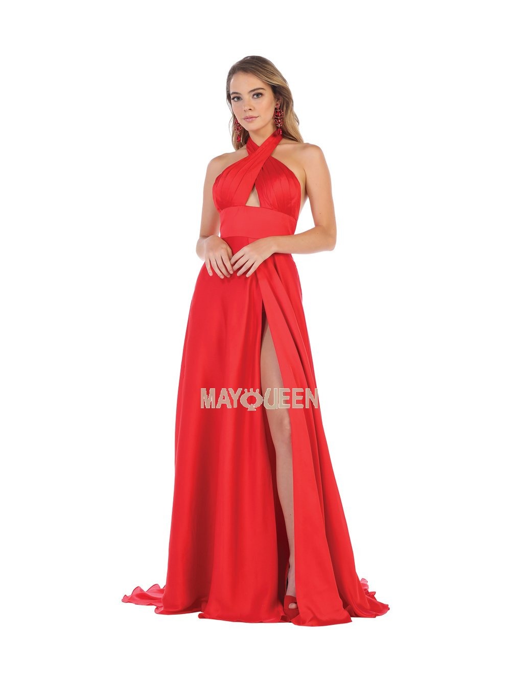 Red Criss-Cross Bodice With Long Flowing Satin Slit Skirt