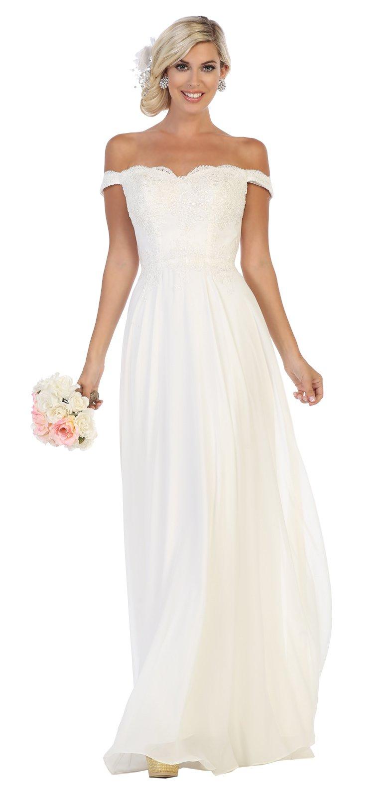 Off The Shoulder Ivory Wedding Dress