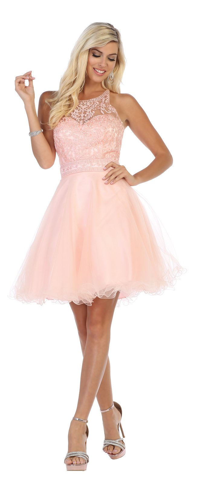 Blush  Lace Applique Homecoming Dress with Criss-Cross Back