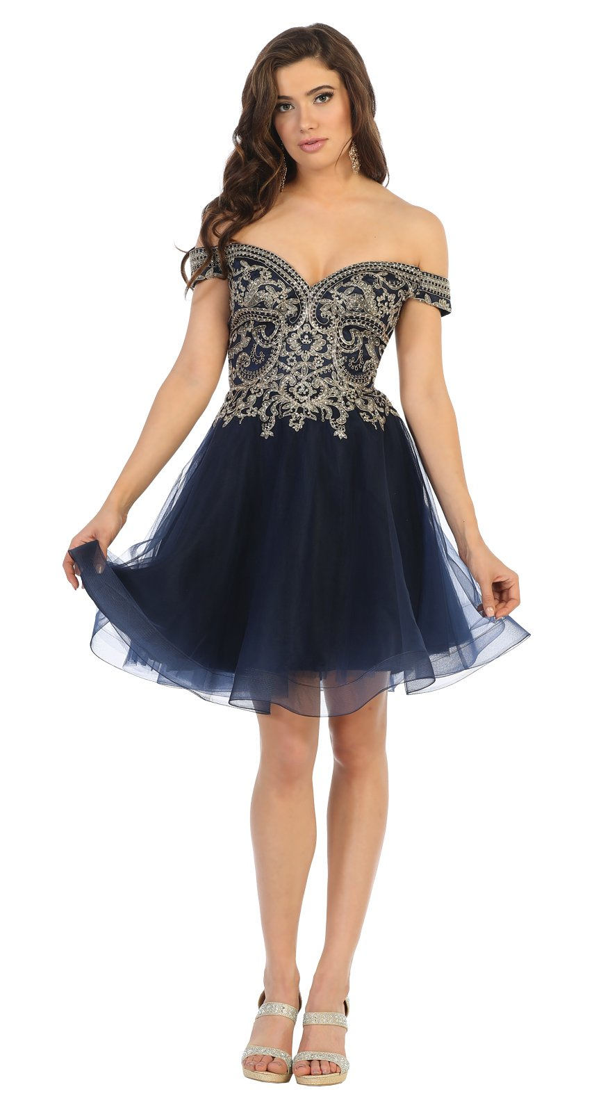 Navy With Gold Embroidered Embellished HOCO Dress