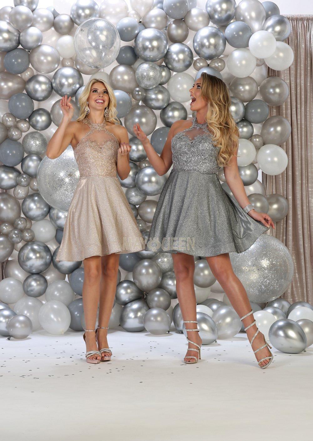 Silver Halter Neck HOCO Dress With Metallic Skirt