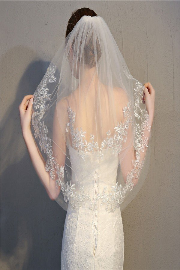 White Veil With Jeweled Embellishments
