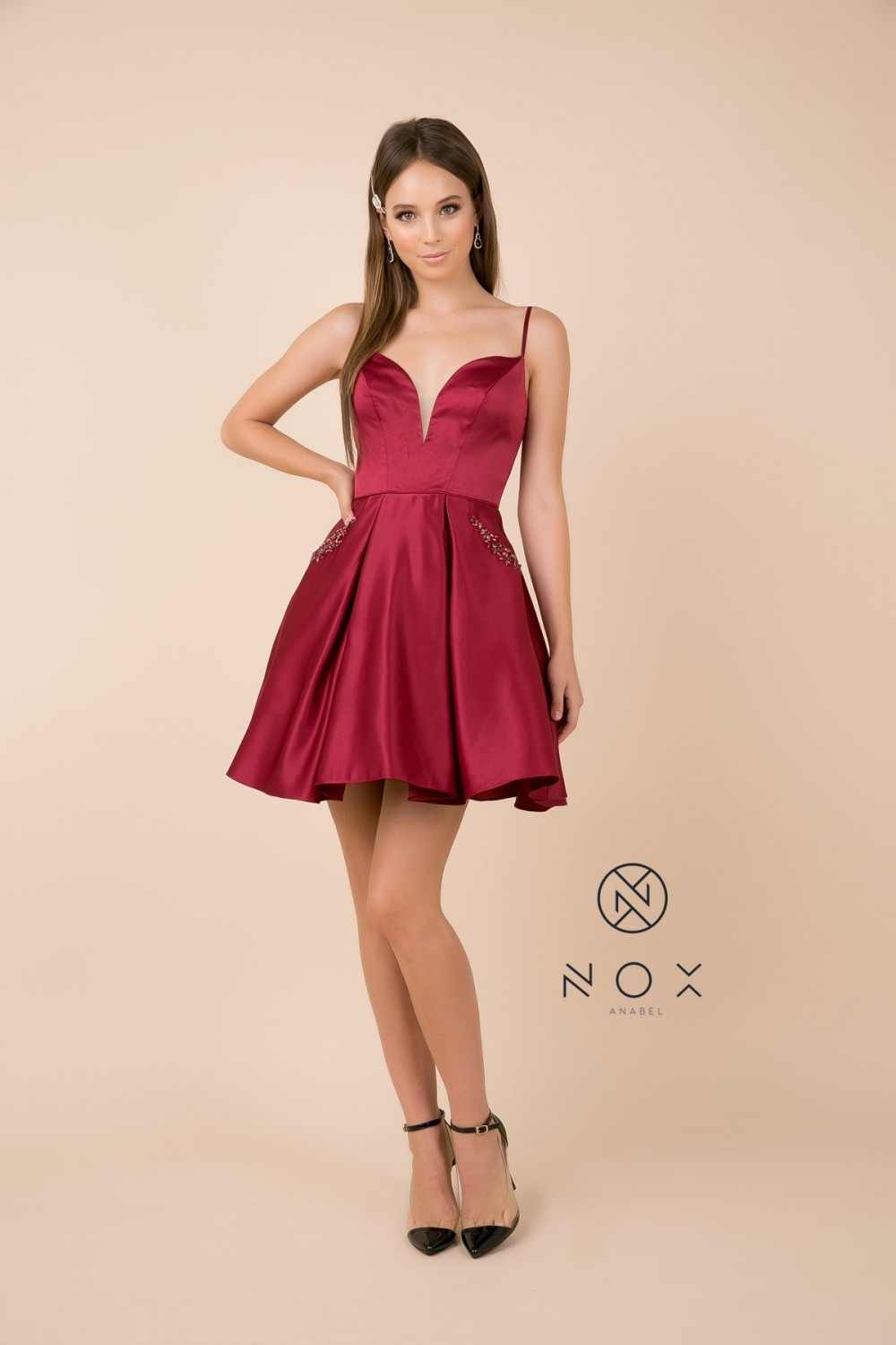 Burgundy Strappy Back With Bling Bling Pockets