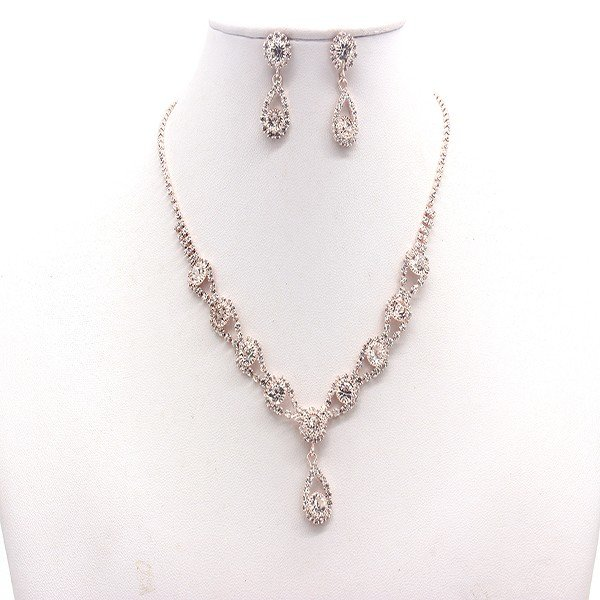 Rose Gold Necklace Earring Set