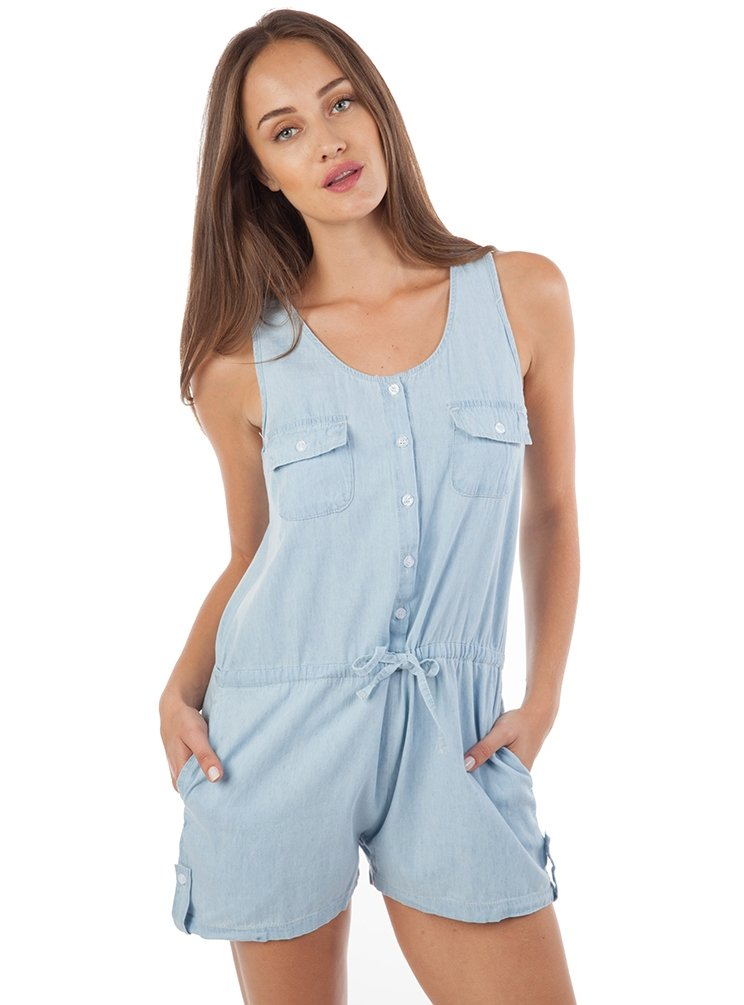 Button Front Romper with Pockets
