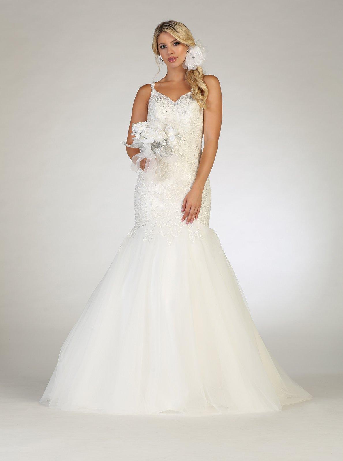 Ivory Plus Size Wedding Dress With Beaded V-Neck With Keyhole Back