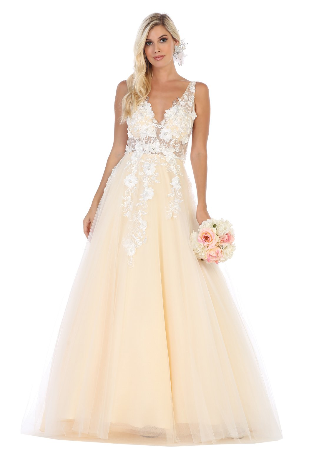 Ivory/Champaign Lace Applique Sheer Bodice Prom Dress With Full Tulle Skirt