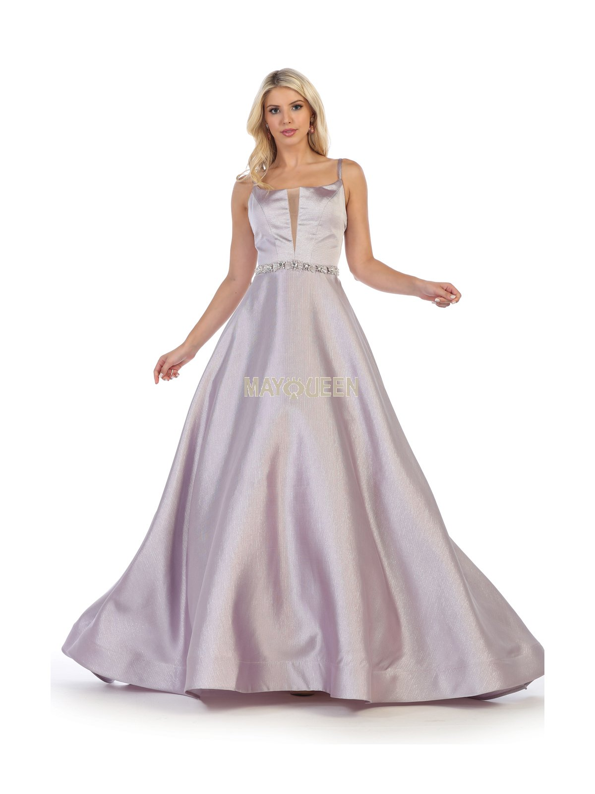Purple Satin Ball Gown With Jeweled Belt & Cutout Back