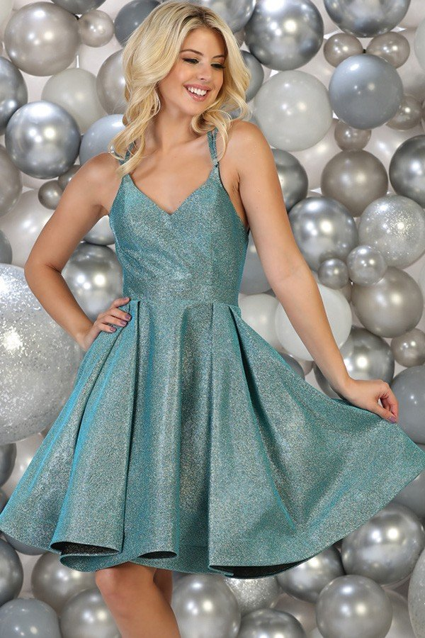 Turquoise Strappy Homecoming Dress