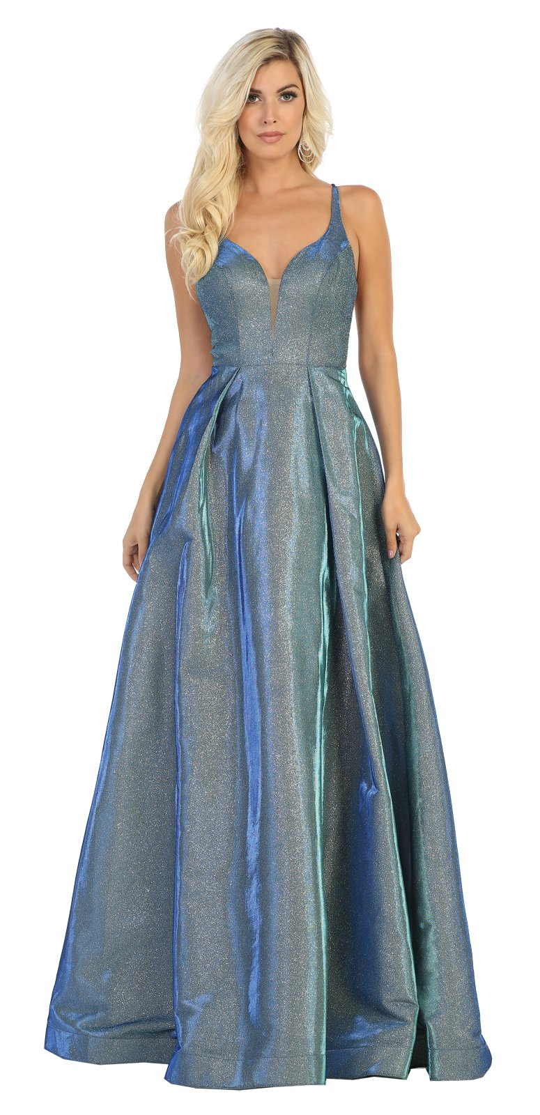 Royal Metallic Sweetheart Neckline Prom Dress