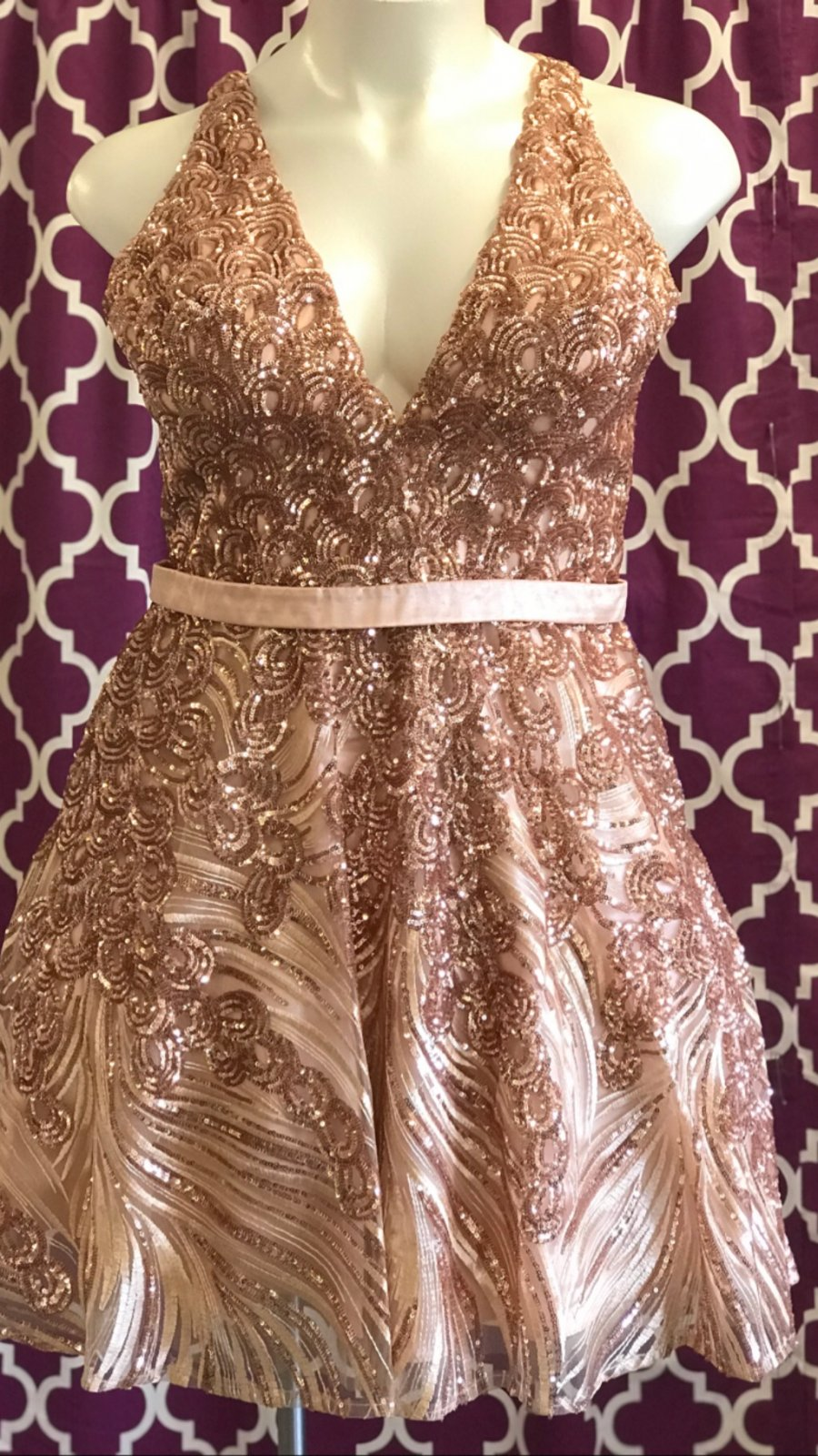 Rose Gold Sweetheart Neckline Homecoming Dress With Keyhole Back