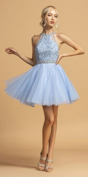 French Blue Homecoming Dress With Illusion Back