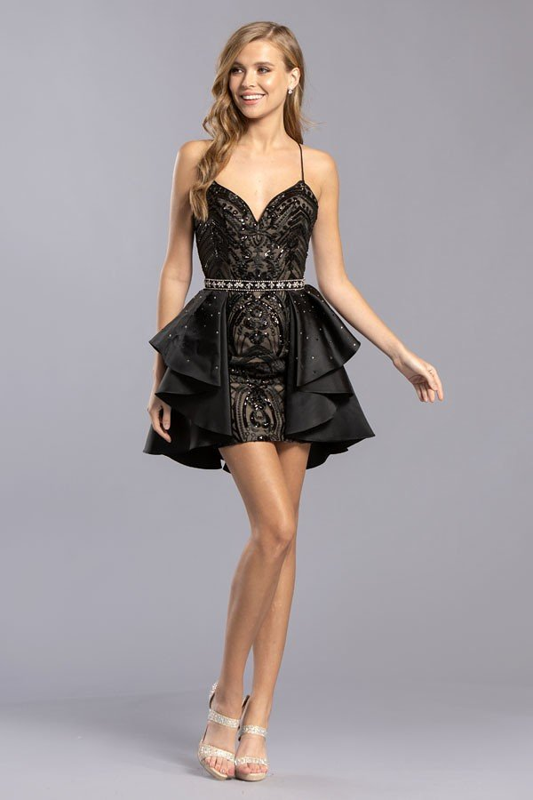 Black Cocktail Dress With Removable Skirt