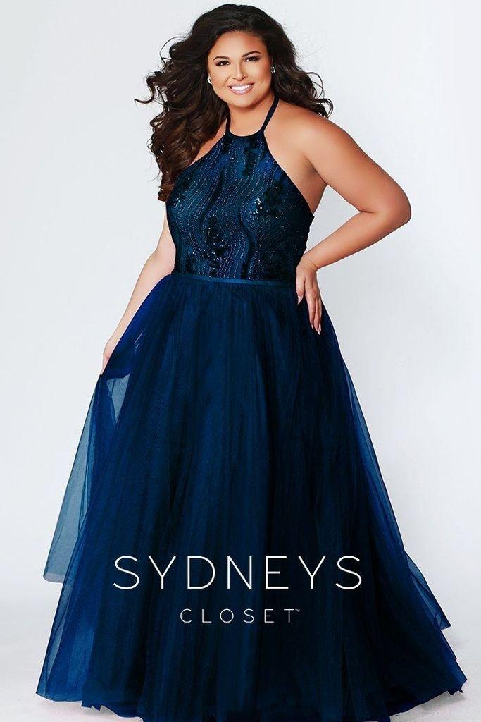 Sitting Pretty Navy & Silver Prom Dress