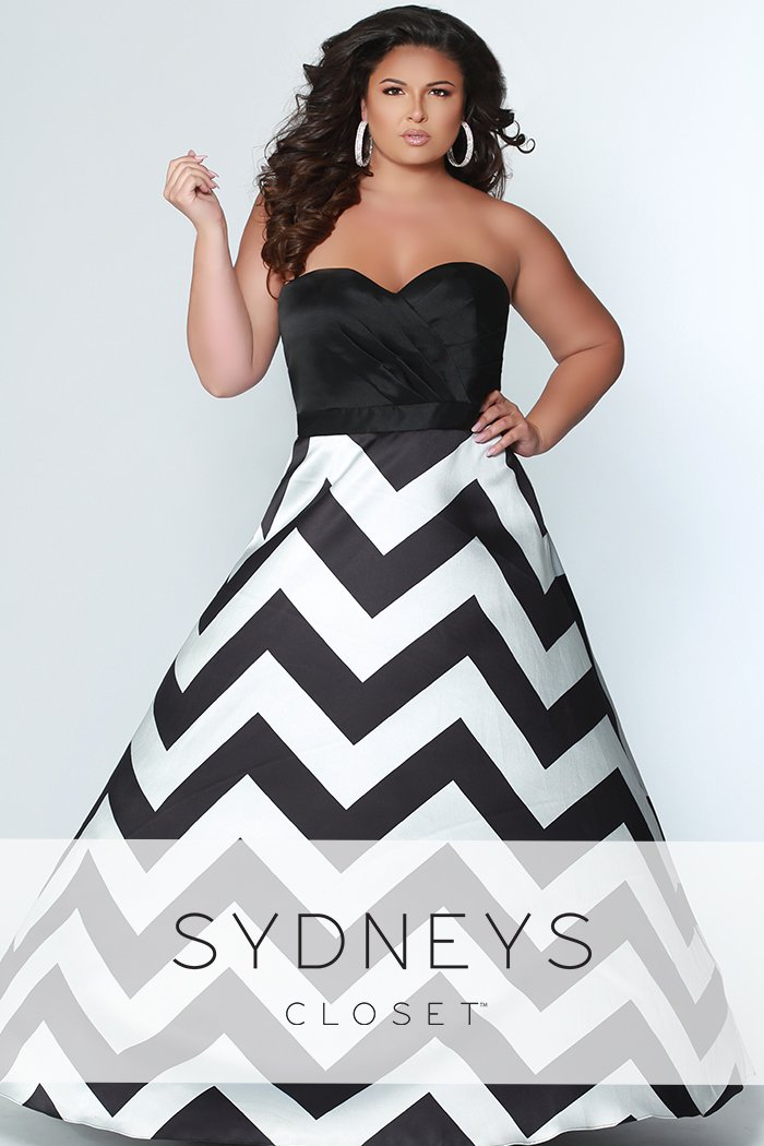 Modern Muse Chevron Print Prom Dress