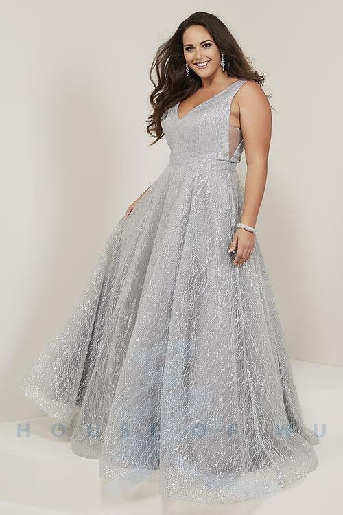 Plugging V-neckline with sparkle tulle A-line skirt in Silver Or Rose Gold