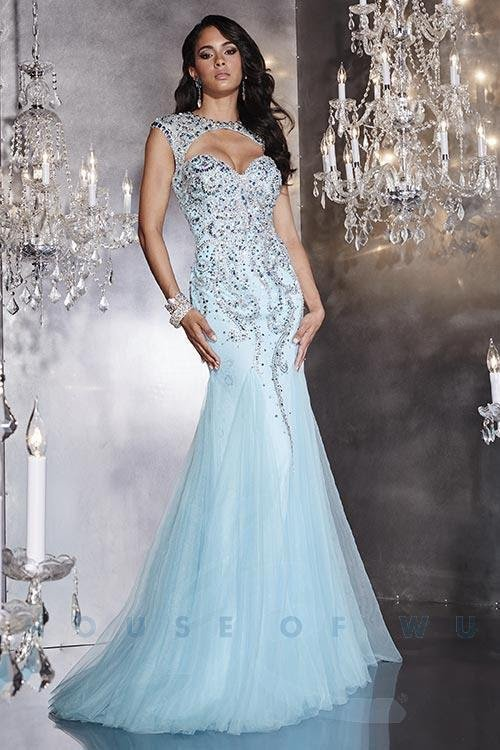 Turquoise Mermaid Beaded Embellished Open Back Gown