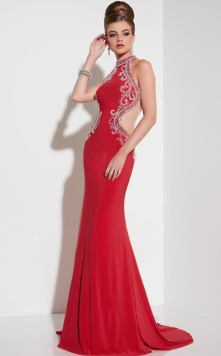 Red Halter Neckline & Side Cutouts With Low Back