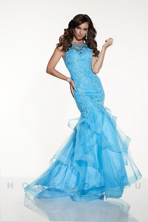 Turquoise Illusion High Neckline With Mermaid Fit & Handkerchief Skirt