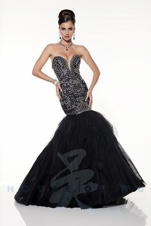 Black Strapless Mermaid Covered Swirls of Iridescent Rhinestones