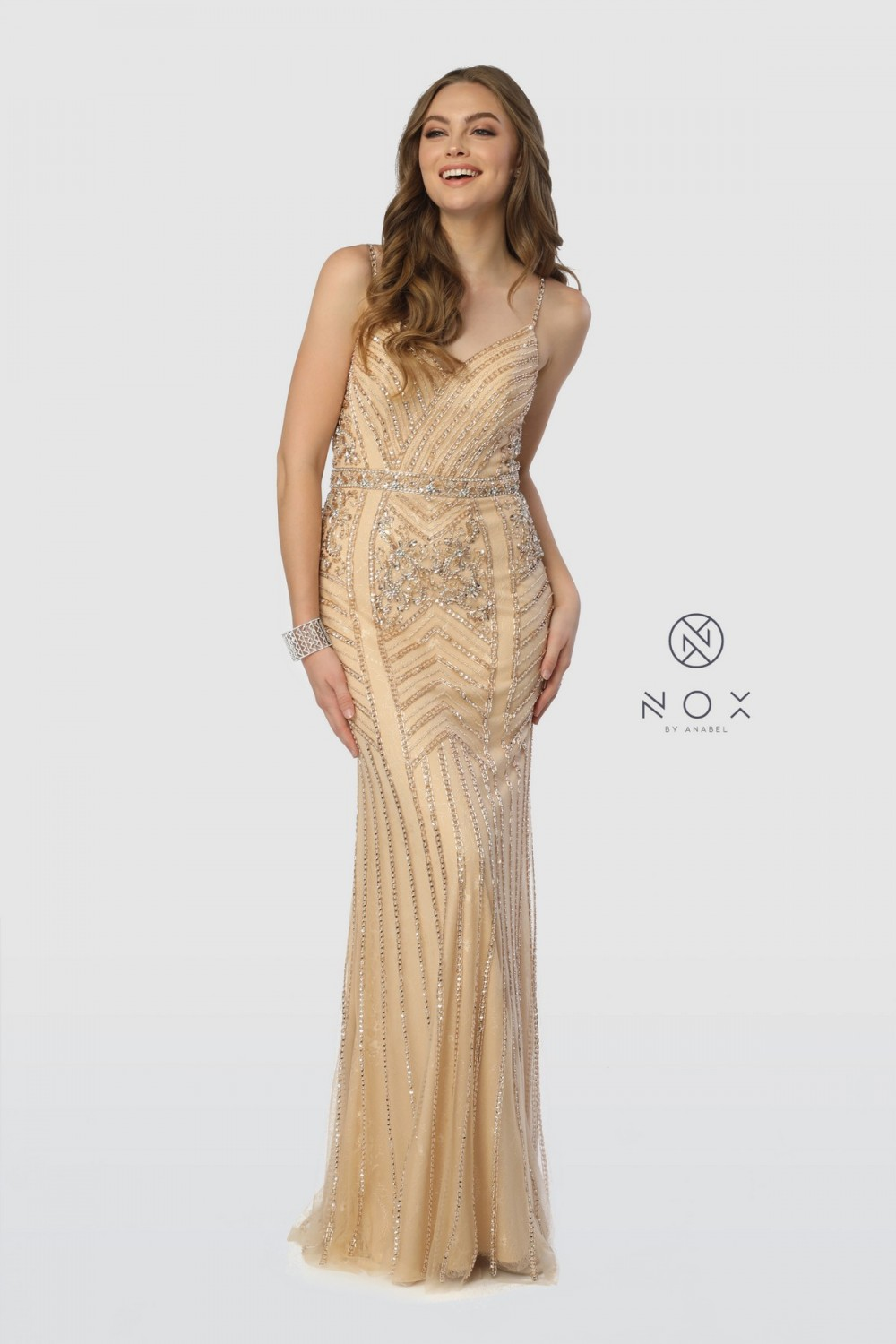 Champagne Fitted Sweetheart Neckline Prom Dress
