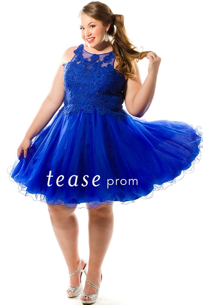 Lace applique bodice with high neck & tulle skirt homecoming dress