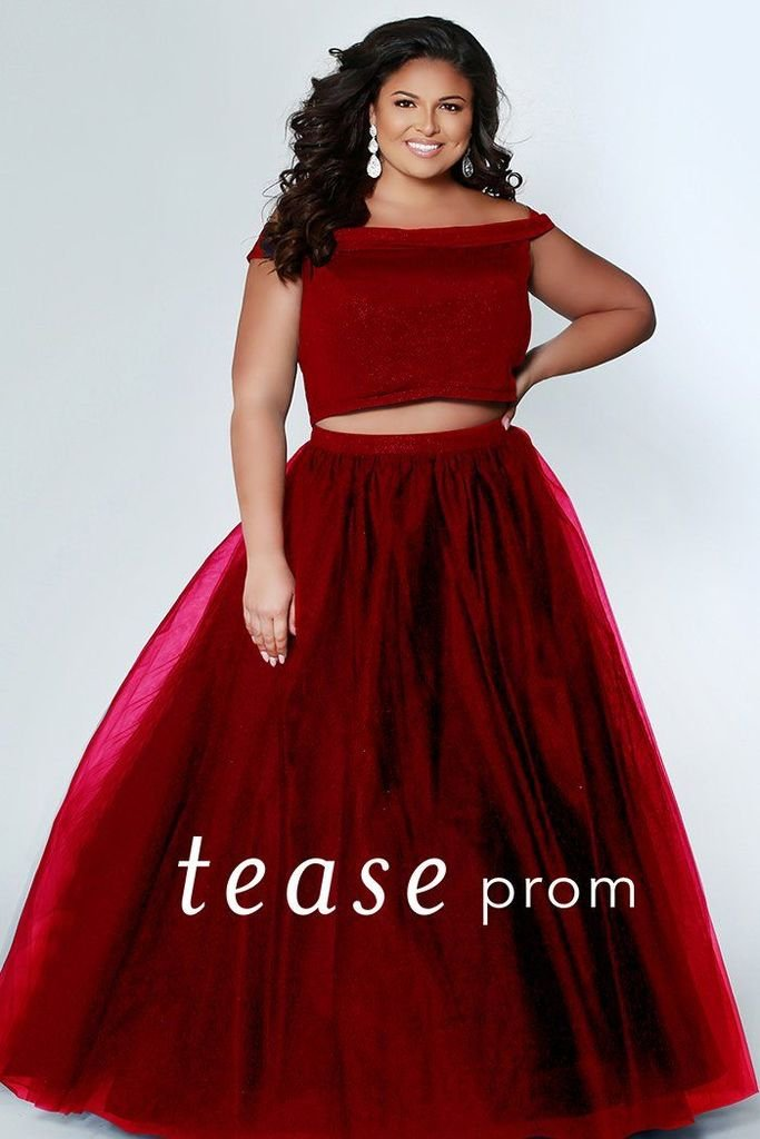Glitter the night away in this Cherry plus size prom dress