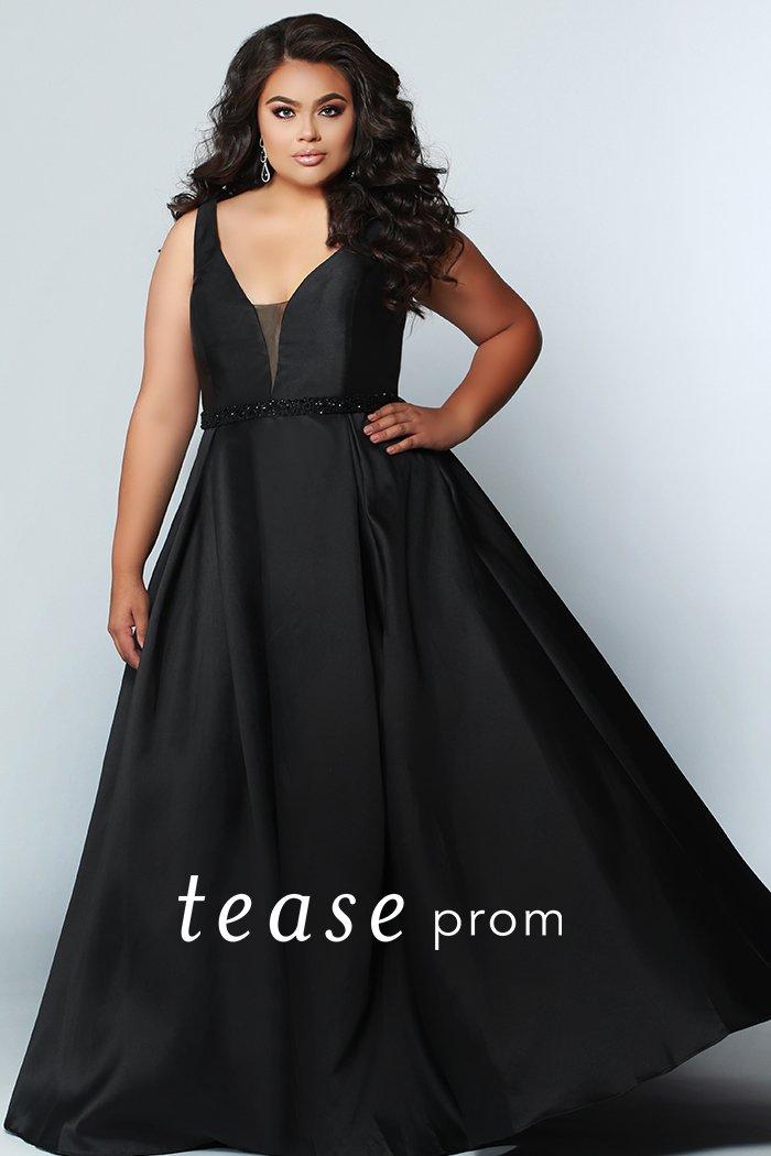 Omyx Black Satin Full Skirt Prom Dress With Pockets