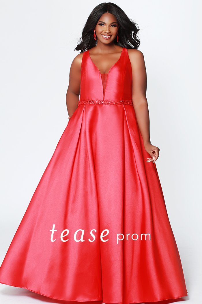 Ruby Satin Full Skirt Prom Dress With Pockets