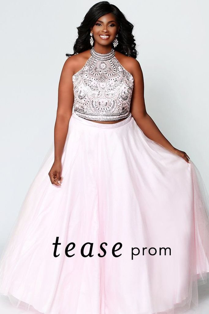 dac25216202 Pink two-piece with a halter top and jeweled embellished bodice plus size  prom dress.
