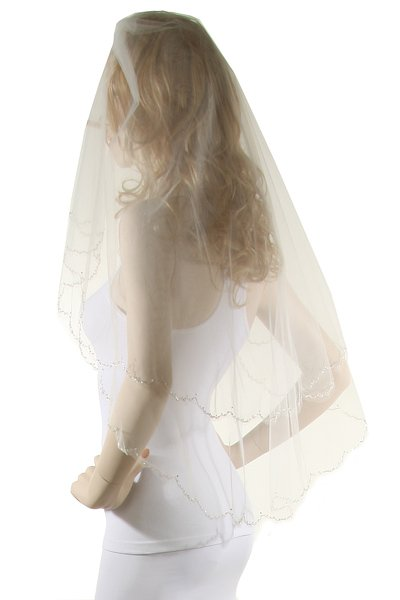 36  White Two Layer Veil