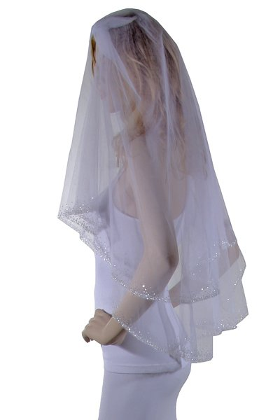 36  White sequin embroidery Veil