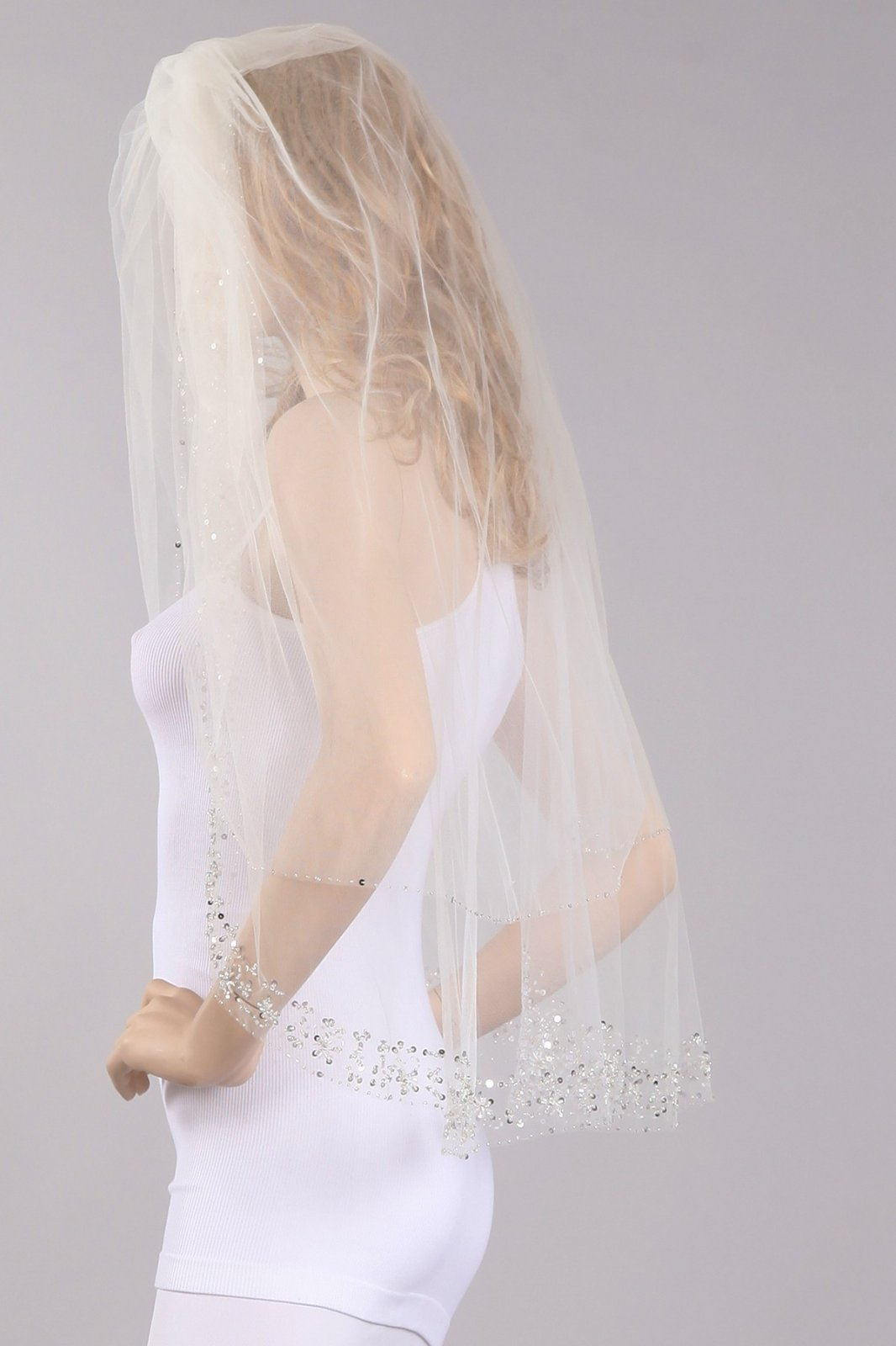 36  White Veil With Sequin & Jeweled Embellishments