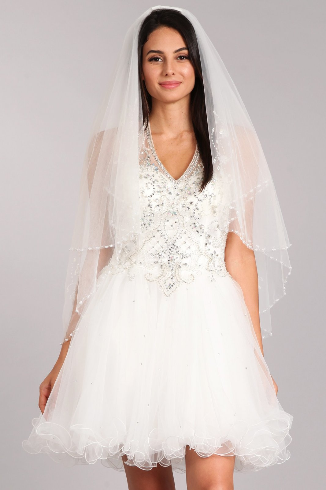 36  White Dainty lace veil