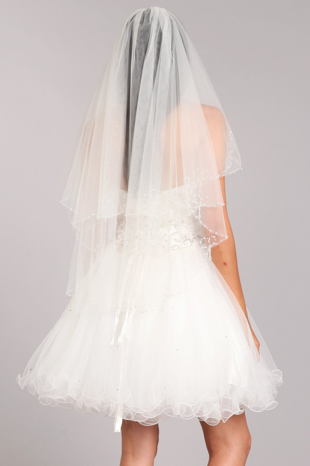 36  White Lace Veil With Jeweled & Beaded Trim
