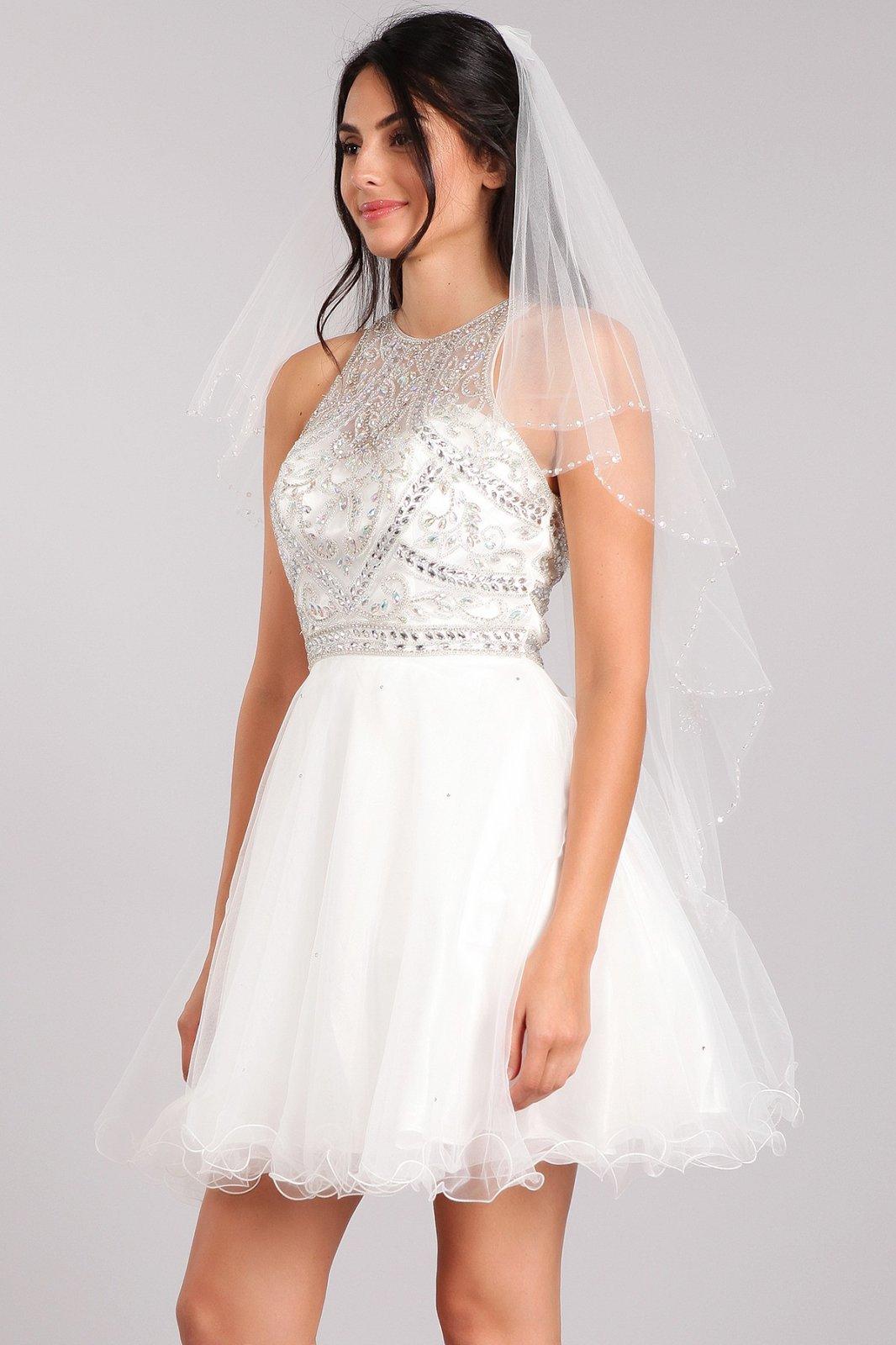 36  White Sheer, tulle wedding veil with beaded design.