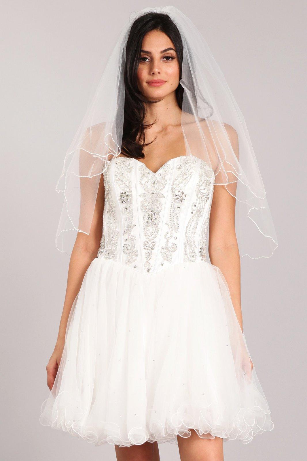 30  White short, sheer, tulle veil.