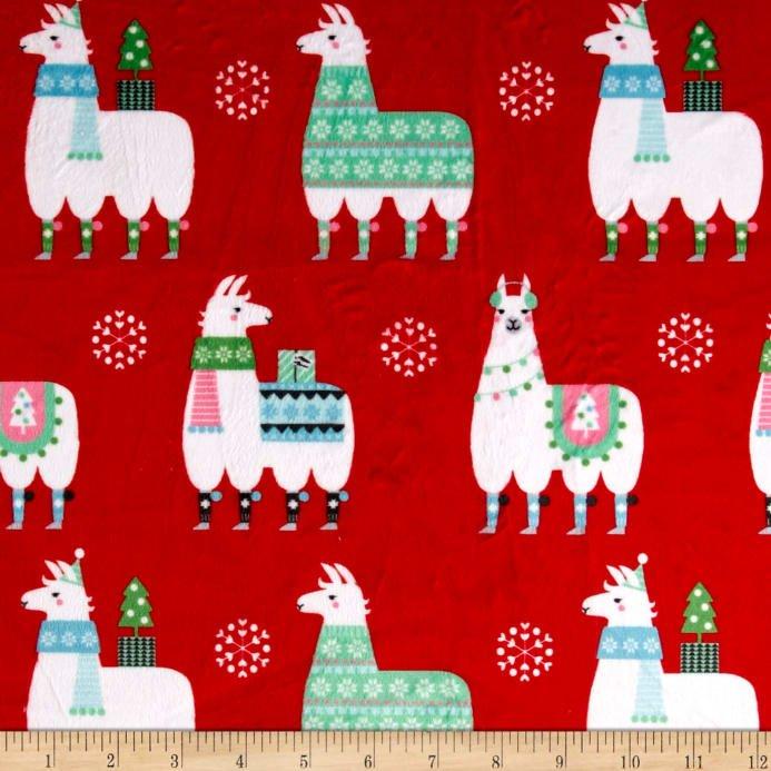 Michael Miller Minky Llama Navidad- Red 60