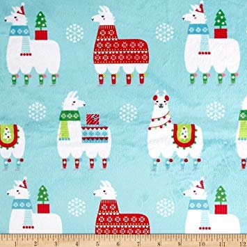 Michael Miller Minky Llama Navidad- Aqua