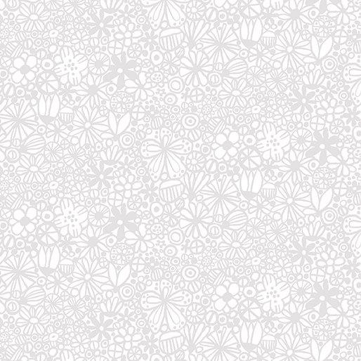 Benartex- Contempo Studio- Baby Buddies Flowers Packed Grey/White 10285-11