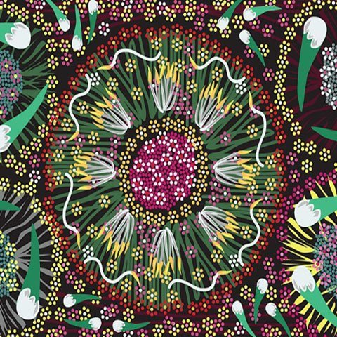 M & S Textiles Plum and Bush Banana Black by Laurel Tanlels