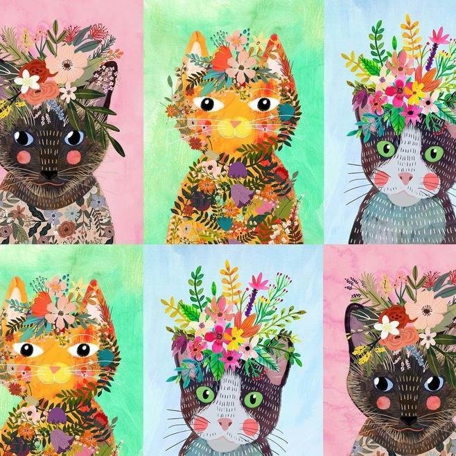 Blend Floral Pets- More Floral Kitties Multi 129.101.08.1