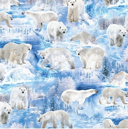 Kanvas Studio Winter Bears Ice Blue (Winter's Pearl)